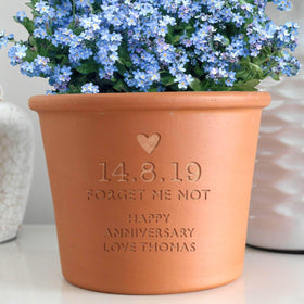 letterfest terracotta Personalised Forget Me Not Plant Pot