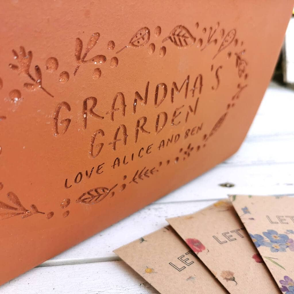 letterfest terracotta Personalised Garden Engraved Terracotta Window Pot