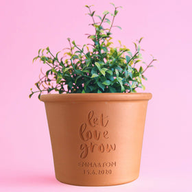 letterfest terracotta Personalised Let Love Grow Plant Pot