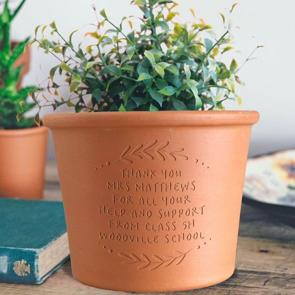 Engraved Message Round Plant Pot