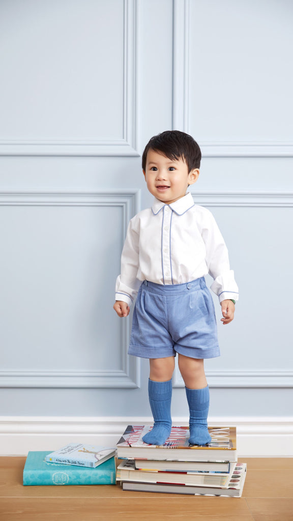 Cord Short and Shirt Set (French Blue) - Happy Milk