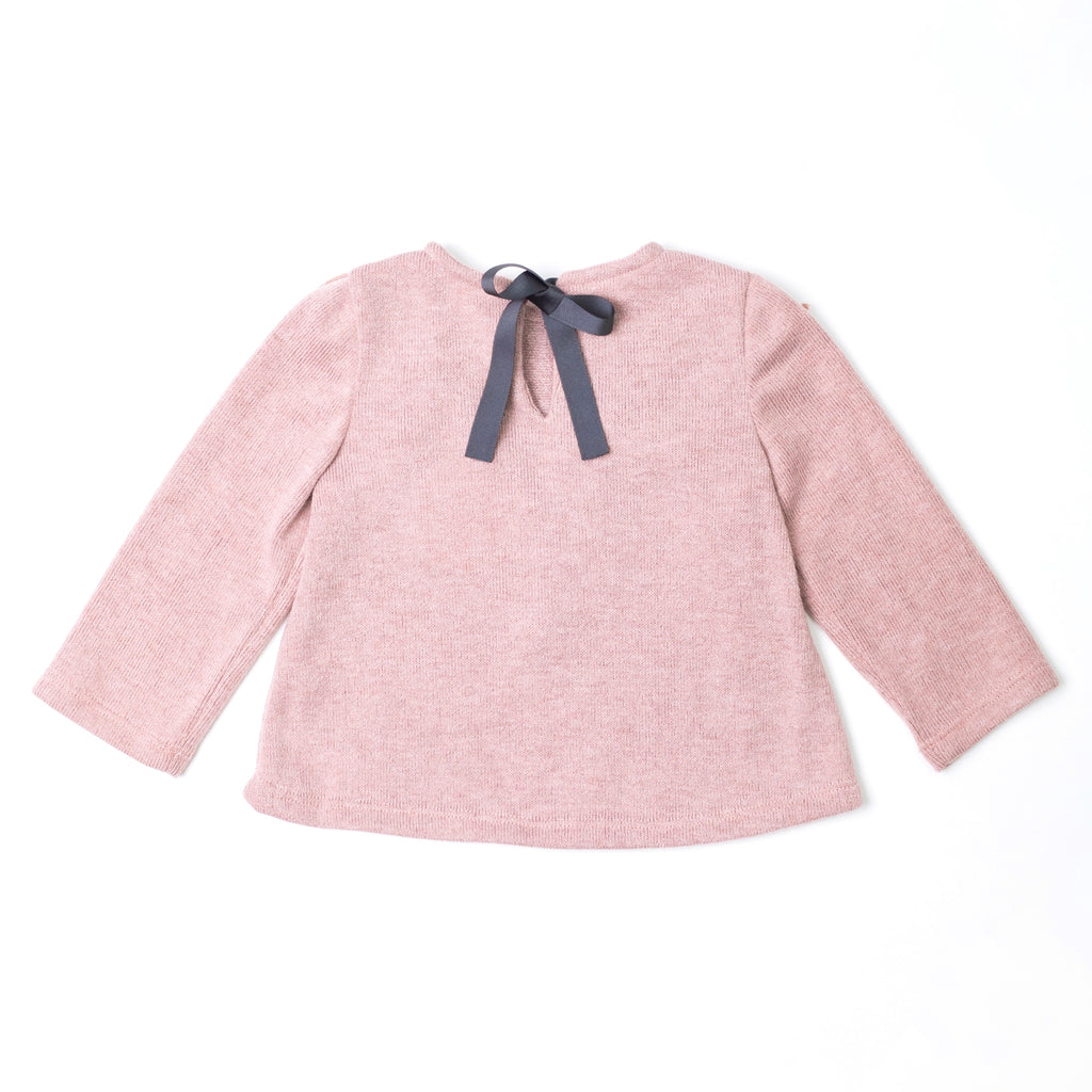 Dusty Pink V-Frilled Sweater