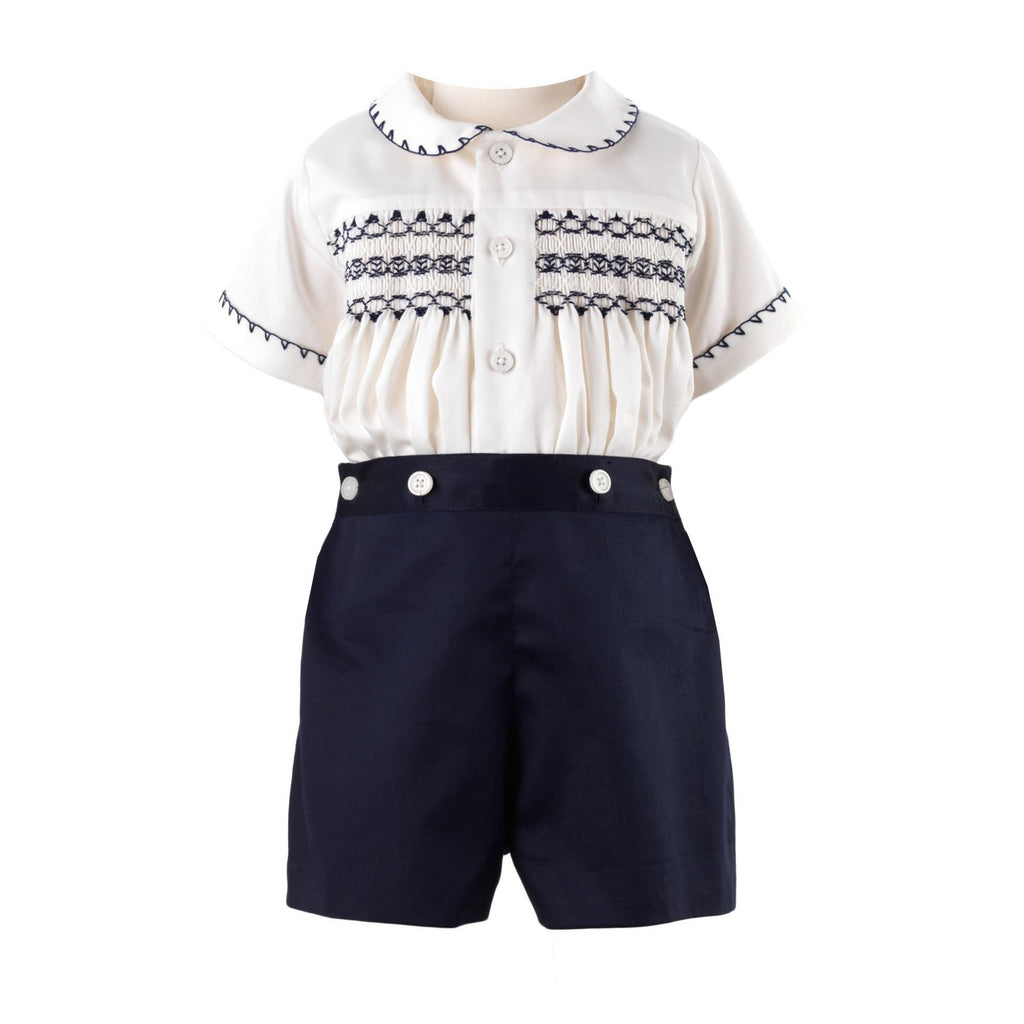 Smocked Set (Navy) - Happy Milk