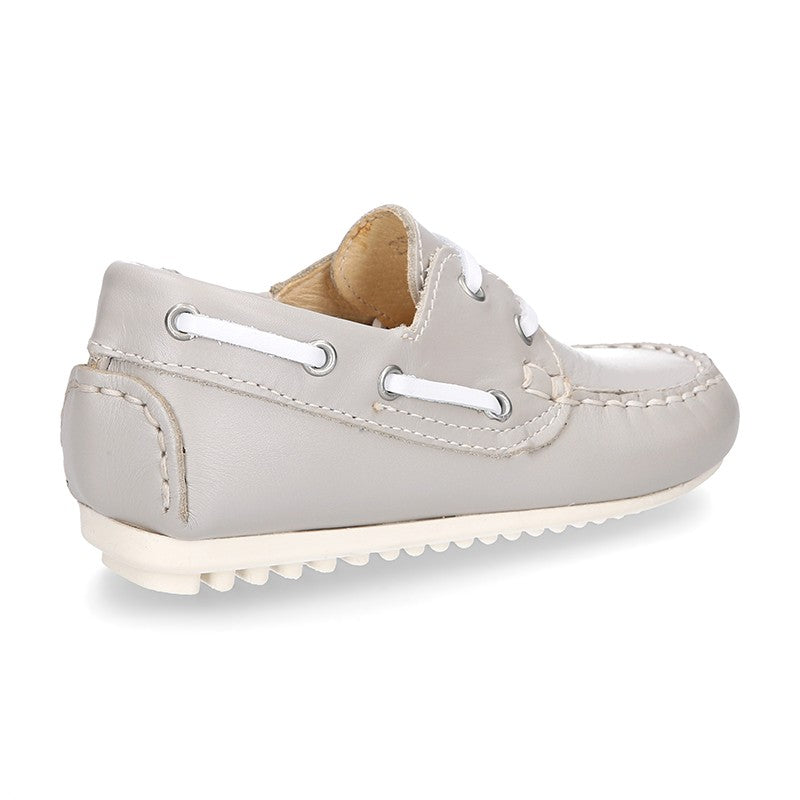 Classic Leather Boat Shoes (Pearl Grey)
