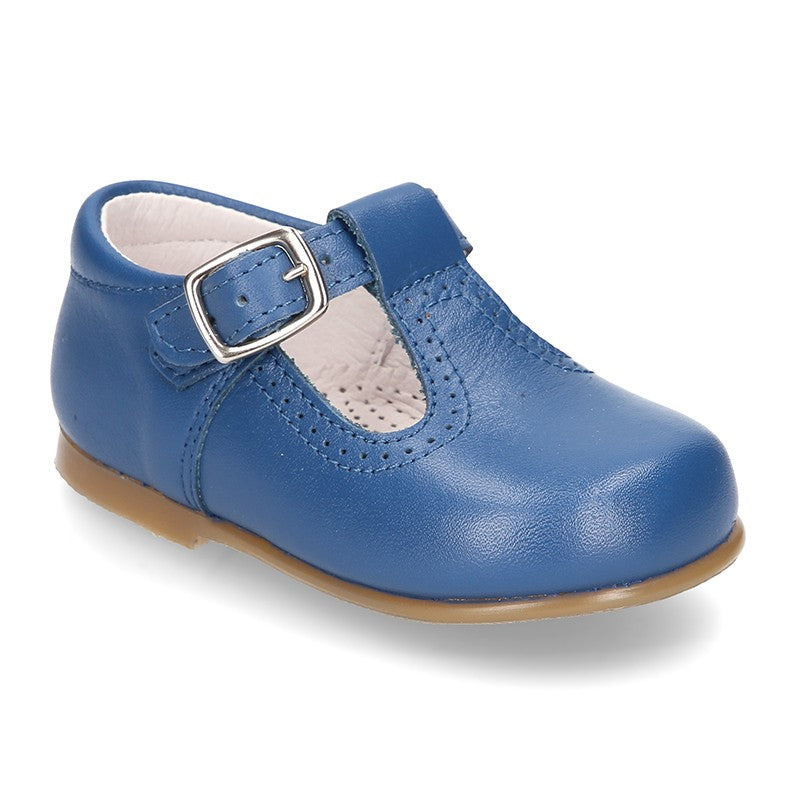Classic Nappa Leather T-Strap Shoes (Iris Blue)