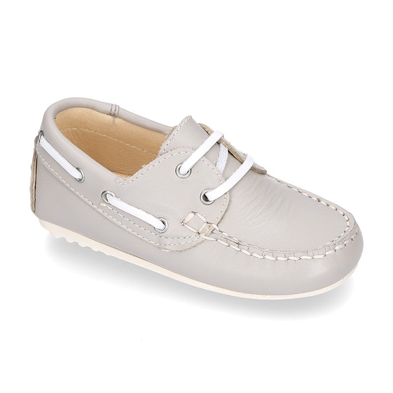 Classic Leather Boat Shoes (Pearl Grey) - Happy Milk