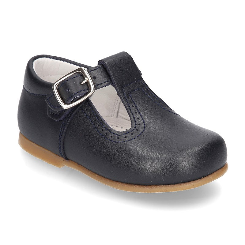 Classic Nappa Leather T-strap Shoes (Navy Blue)