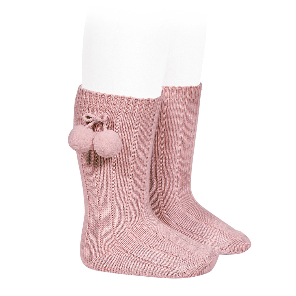 Rib knee high socks with Pom Pom (Rose Pink) - Happy Milk