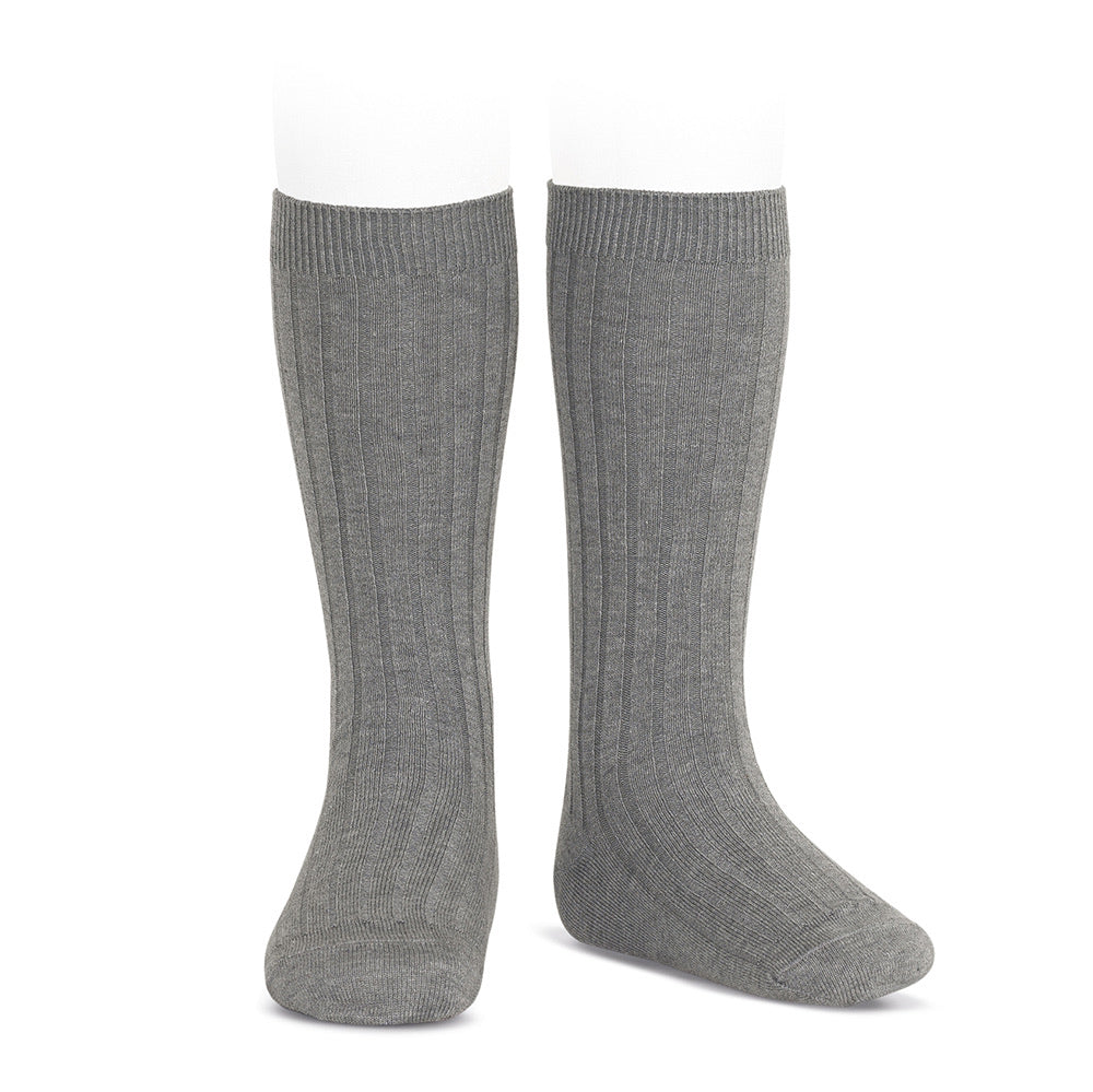 Basic rib knee high socks (Grey) - Happy Milk