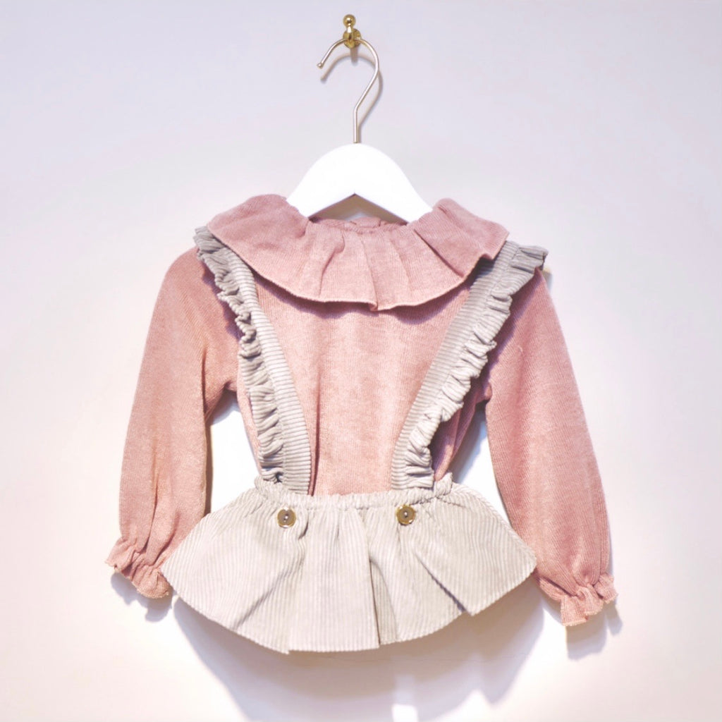 Dusty Pink Frill Collar Sweater