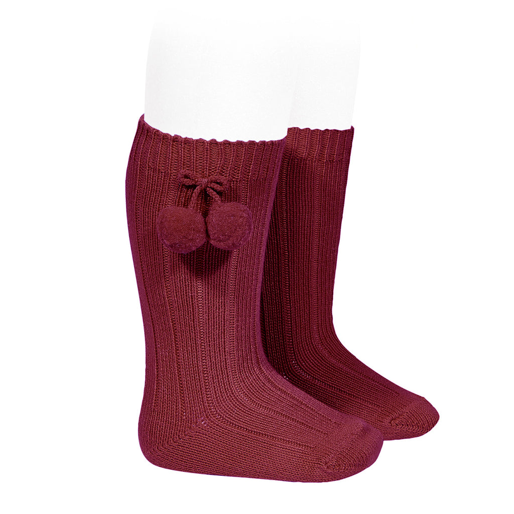 Rib knee high socks with Pom Pom (Burgundy) - Happy Milk