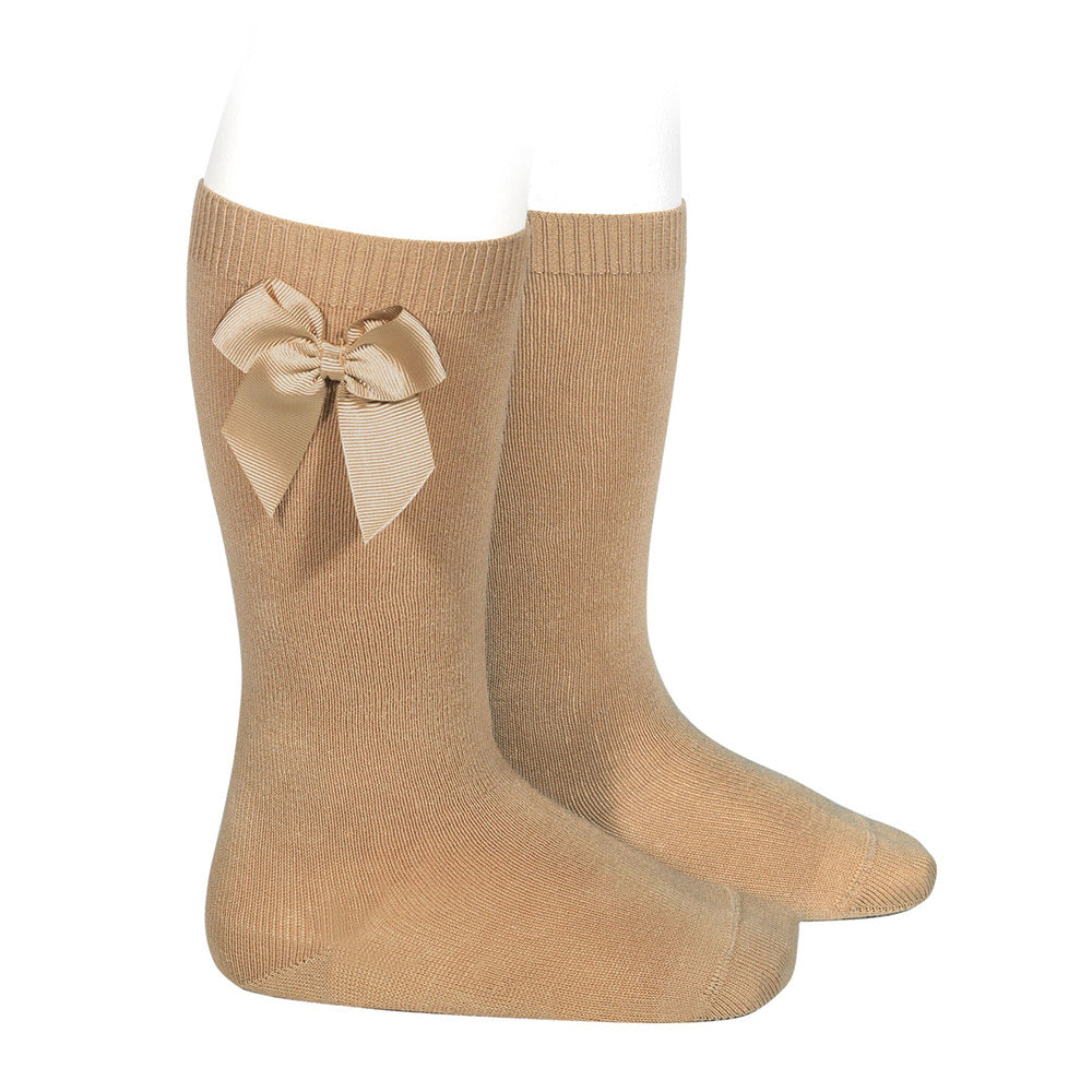 Knee high socks with side bow (Camel) - Happy Milk
