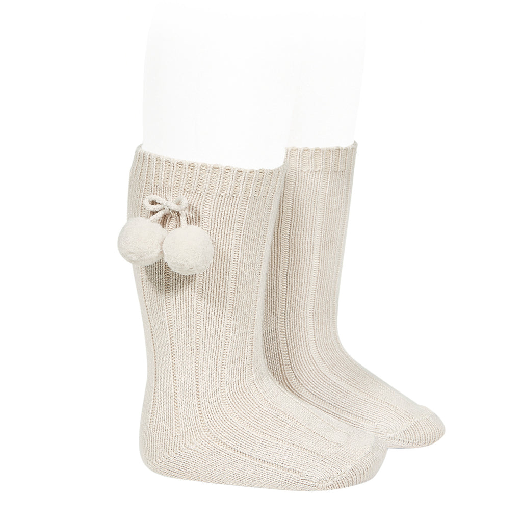 Rib knee high socks with Pom Pom (Lino) - Happy Milk