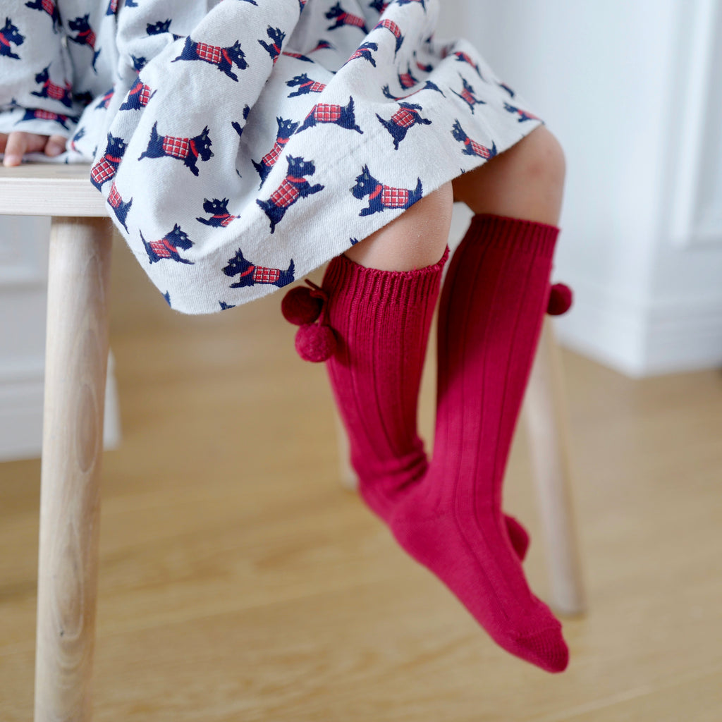Rib knee high socks with Pom Pom (Burgundy)
