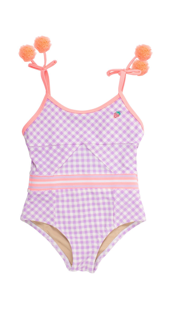 Purple Gingham Checks Swimsuit (Girls) - Happy Milk