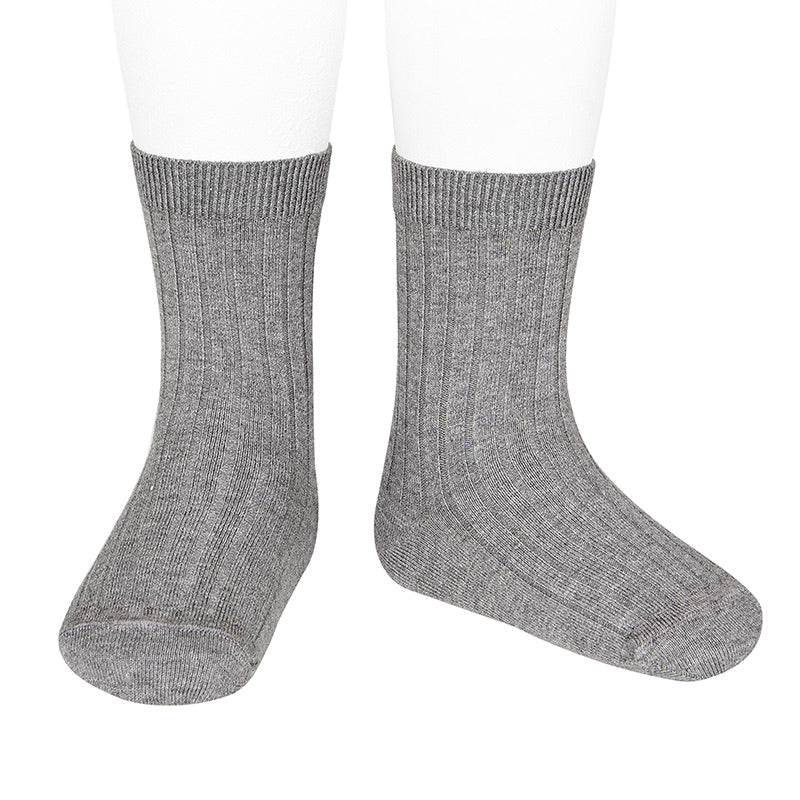 Basic Ribbed Short Socks (Grey) - Happy Milk
