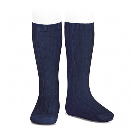 Basic rib knee high socks (Marine Blue) - Happy Milk