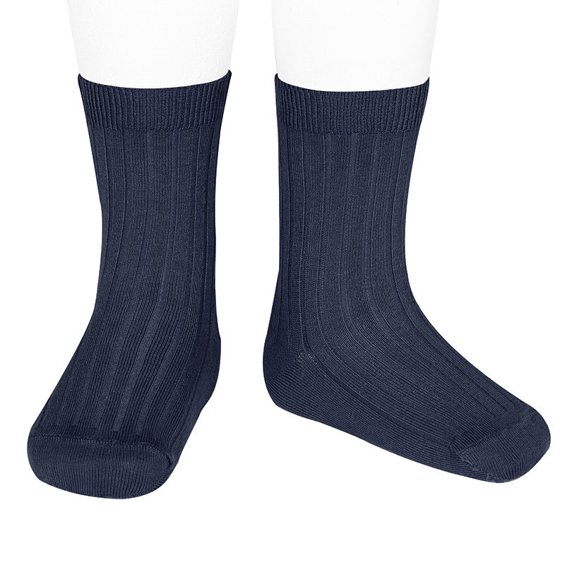 Basic Ribbed short socks (Marine Blue) - Happy Milk