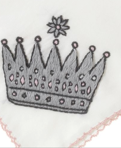 Princess Crown Embroidered Sheet 40cm x 40cm - Happy Milk