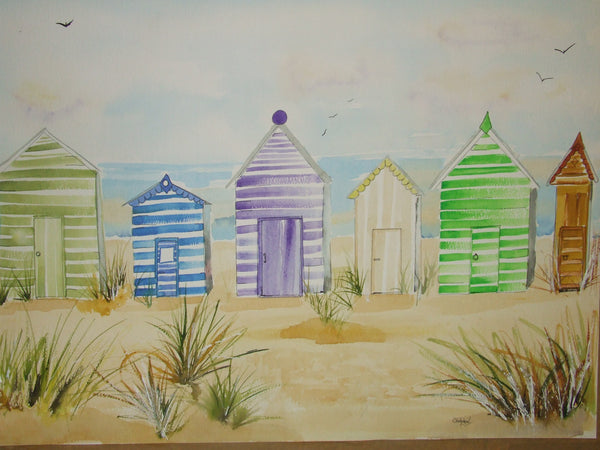 Beach huts water colour