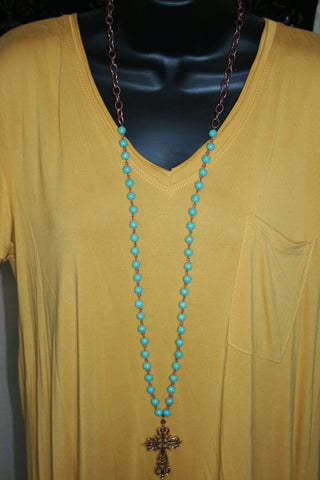 Great Copper Chain with Cross with Turquoise Color
