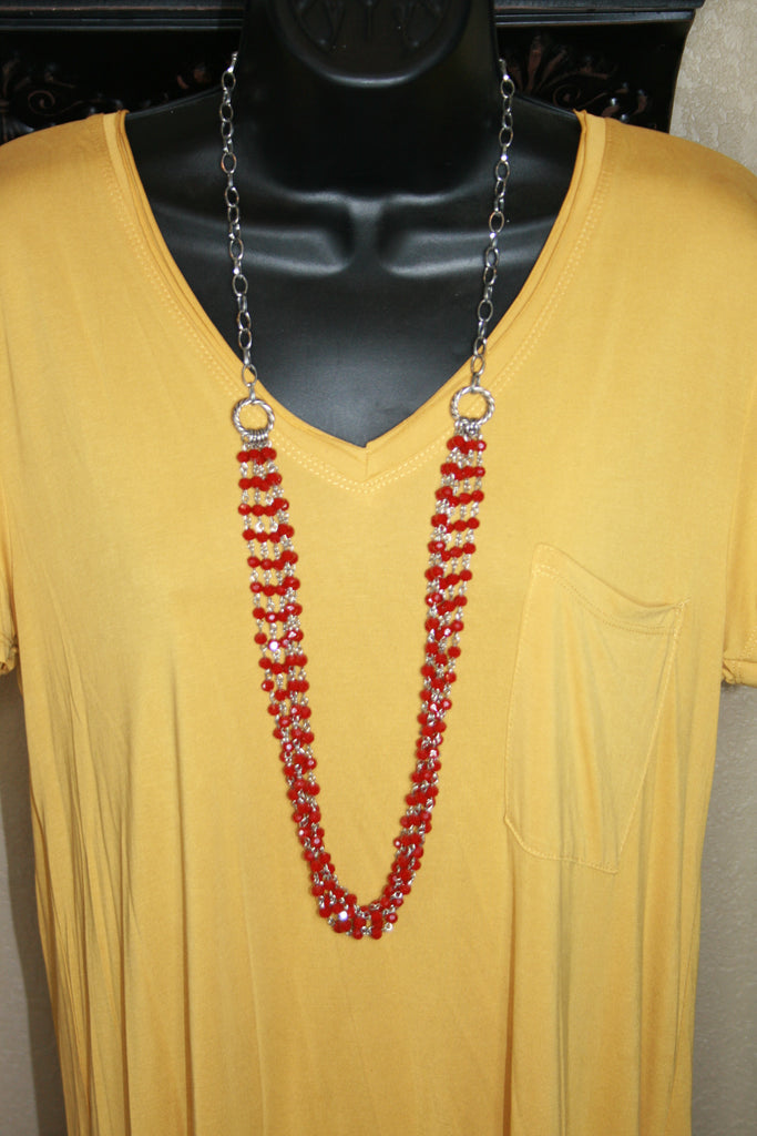 Red Multi-Strand Necklace  with Earrings