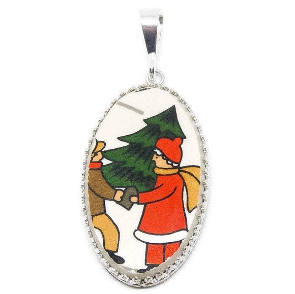 Broken China Jewelry/ Christmas Necklace/ Handcrafted/ Made USA/ Sterling Silver - Judy's Jewelry Basket