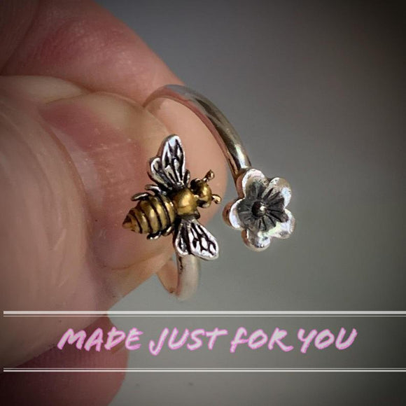 Handmade in USA- Honey Bee Cherry Blossom Bypass Ring