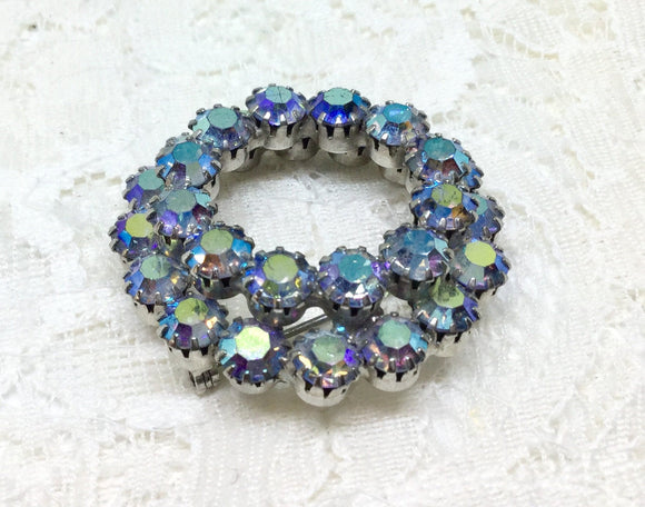 Vintage Unsigned Two Layer Rhinestone Circle Brooch Pin - Judy's Jewelry Basket