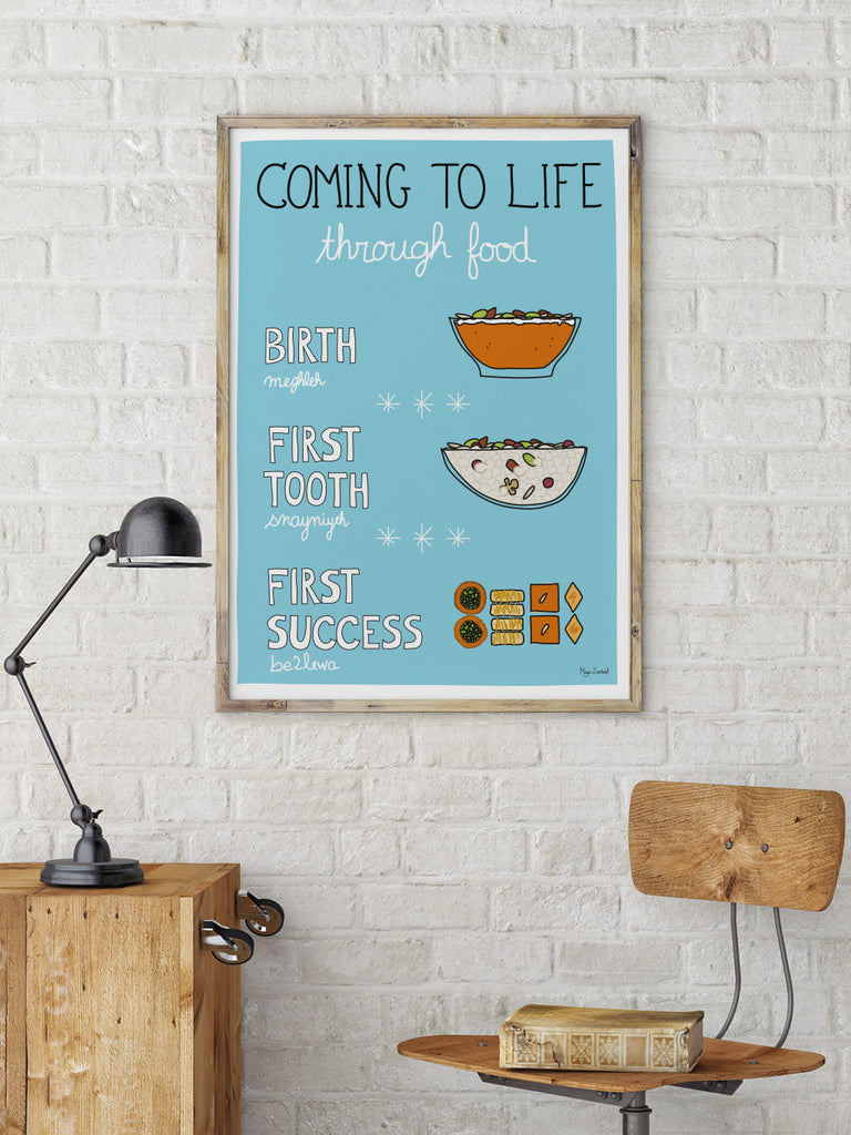 Life Through Food - Poster by Maya Zankoul