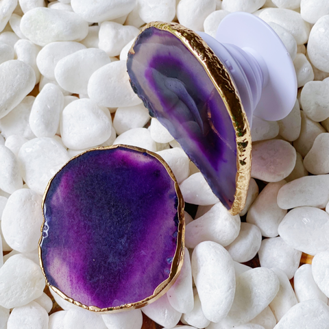 Purple Agate Natural Stone Phone Grip