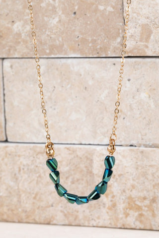 Beaded Pendant Necklace - Teal