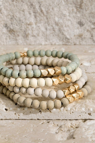 Wood & Metal Layer Bracelet Set - Gray
