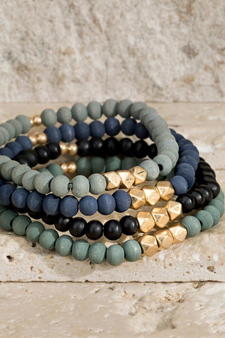 Wood & Metal Layer Bracelet Set - Black
