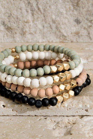 Wood & Metal Layer Bracelet Set - Multi