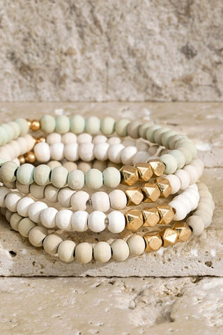 Wood & Metal Layer Bracelet Set - Ivory