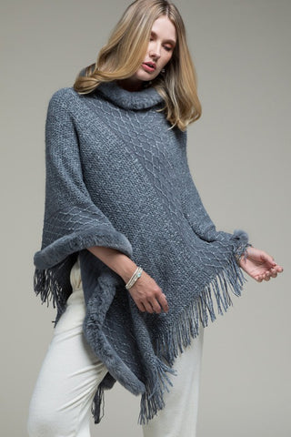 Fur Trim Knit Poncho - Grey