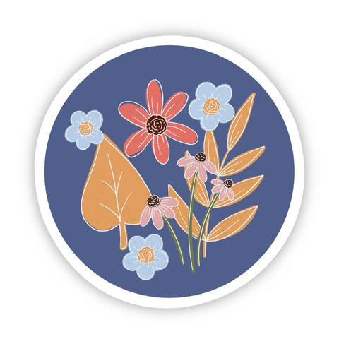 Blue Circle Floral Sticker