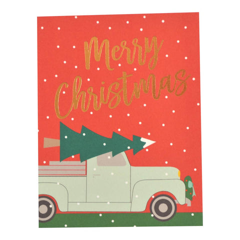 Merry Christmas Holiday Trucks Foil Cards - Box of 6