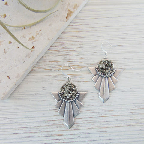 Boho Chic Silver Pyrite Earrings