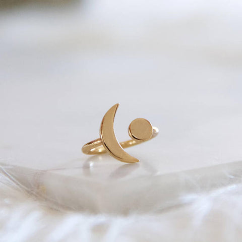 Gold Moon Crescent Ring