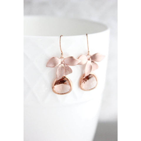 Rose Gold Orchid Earrings