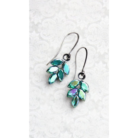Blue Glass Leaf Earrings