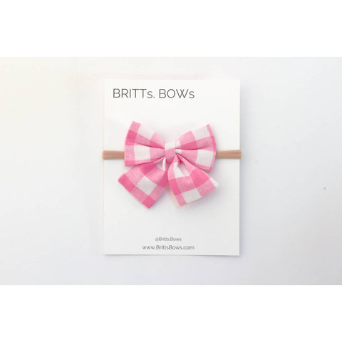 Pink and White Gingham Valentine's Day Bow