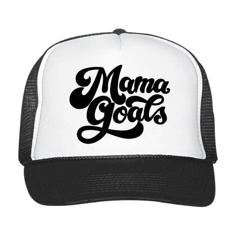 Mama Goals Snapback Hat (Black/White)