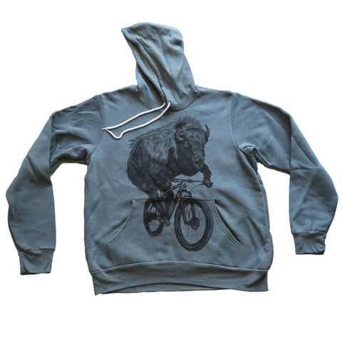 Buffalo On A Bicycle Hooded Pullover Sweatshirt