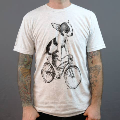 Chihuahua On A Bicycle Men's Tee