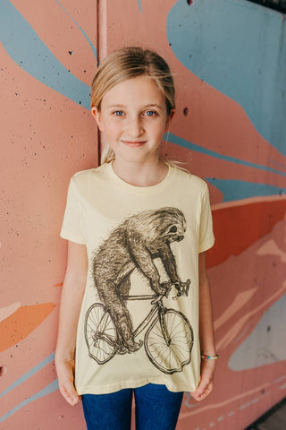 Sloth On A Bicycle Top - AVAILABLE: 2T