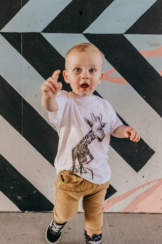Giraffe On A Bicycle Top -  - AVAILABLE: 2T