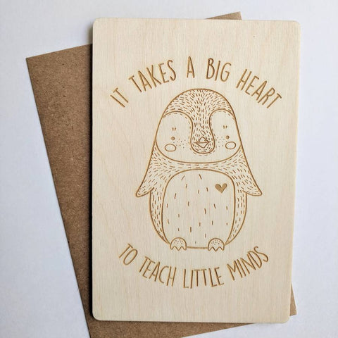 It Takes A Big Heart Wooden Card